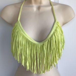 L*Space Neon Yellow/Green Fringe Swim Top EUC
